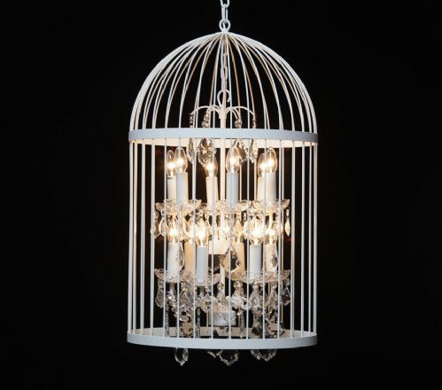 Bird Cage Chandelier in Crackle White Large